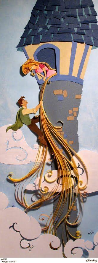 Rapunzel hermoso trabajo en papel