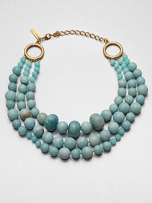Oscar de la Renta Multi Row Graduated Beaded Necklace