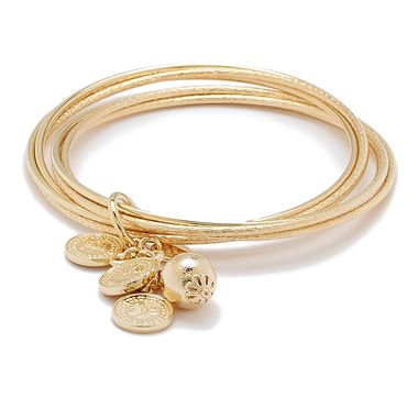 Bronzoro Italia Slip On Bangle with Cluster of Coin Charms