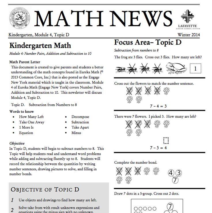 Kindergarten, Module 4, Topic D parent newsletter