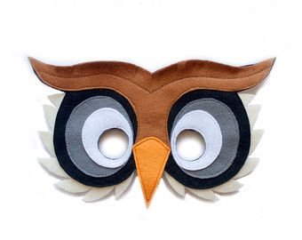 Owl mask, children owl costume, adult bird mask, felt mask, woodland creature dress up, Halloween costume, bird pretend play, felt toys