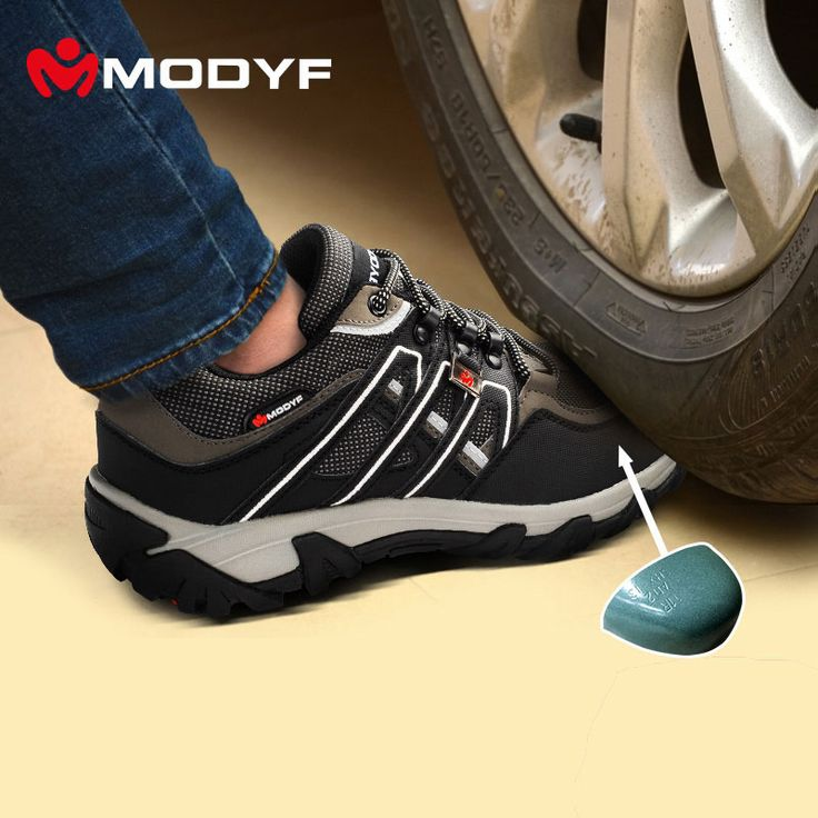 Men steel toe cap work safety shoes reflective casual breathable outdoor hiking boots puncture proof protection footwear