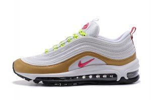 Womens Nike Air Max 97 White Gold Pink Black Sneakers