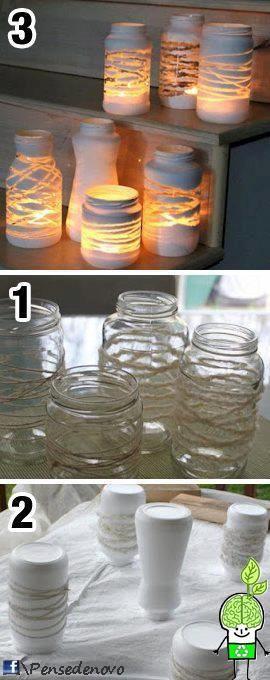 Potes de vidros + Barbante + Tinta = Luminárias =D