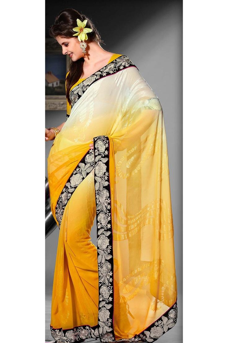 Yellow saree from RMKV Item: SY1021