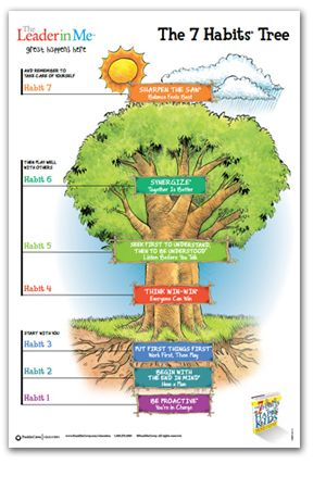 7 Habits Tree of Happy Kids - uses the analogy of a mature tree to illustrate applying the habits to one's life. Habit 1 — Be Proactive (You're in Charge); Habit 2 — Begin w/End in Mind (Have a Plan) ; Habit 3 — Put First Things First (Work 1st, Then Play); Habit 4 — Think Win-Win; Habit 5 — Seek First to Understand, Then to Be Understood (Listen Before You Talk); Habit 6 — Synergize (Together is better); Habit 7 — Sharpen The Saw (Balance Feels Best)