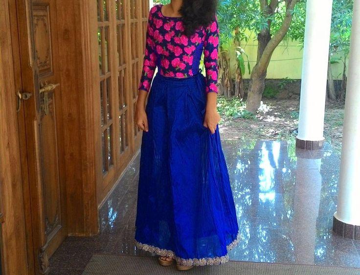 Be bold in blue..long skirt & embroidered crop top...Fucshia by Strelakshmi Prakash