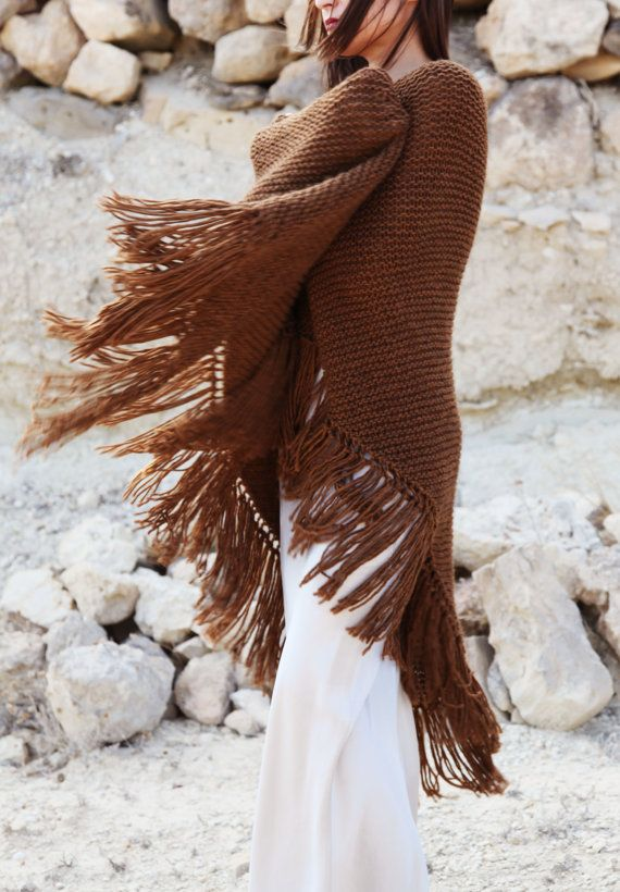 Tabbaco brown knitted boho Lagenlook extra large by AnnaOhSailors