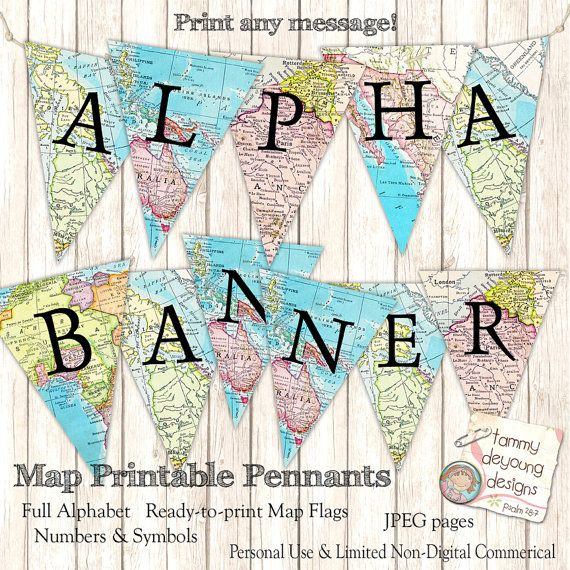 map banner garland  map party pennant flags  printable alphabet you customize  travel decor