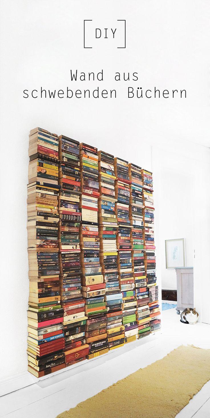 Wand aus schwebenden Büchern by Nur noch - DIY Anleitung