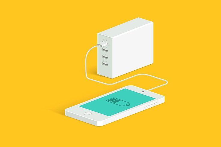 Powerbank charging a smartphone. by Di Bronzino on @creativemarket