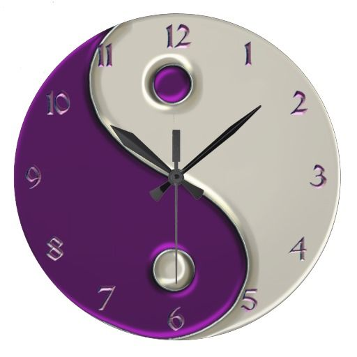 Yin Yang Clock in Purple and While    $27.95