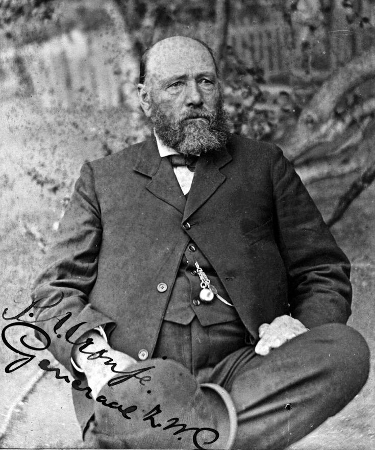 General Piet Cronjé (1836-1911), veteran general of the army of the South African Republic during the Second Boer War, taken prisoner by the British when he surrendered after losing the battle of Paardeberg on 27 February 1900. The photograph shows Cronjé as prisoner of war on Saint Helena where he remained until the conclusion of the war on 31 May 1902.
