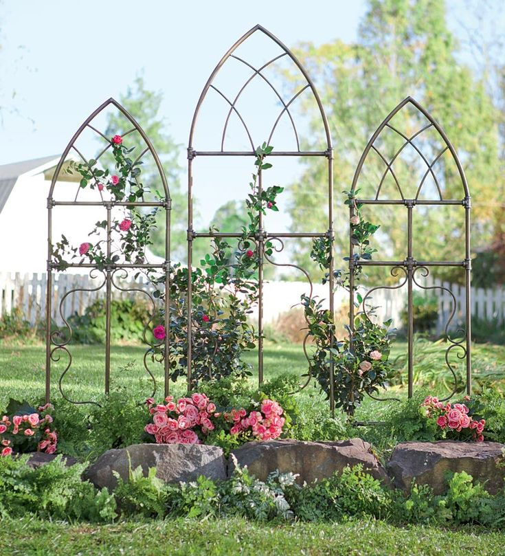 Cathedral Style Garden Trellises Beautifully styled with the classic pointed arch of Gothic cathedrals, they feature a number of special details, including unique pipe fitting accents; lattice detail at top with flowing scrollwork at bottom; and rich weathered brass finish that will highlight your plants and the surroundings beautifully. Can be ground- or wall-mounted for use in any space. Large $99.95  Set of 2 Small $149.95 or set of large and 2 small $235.95.