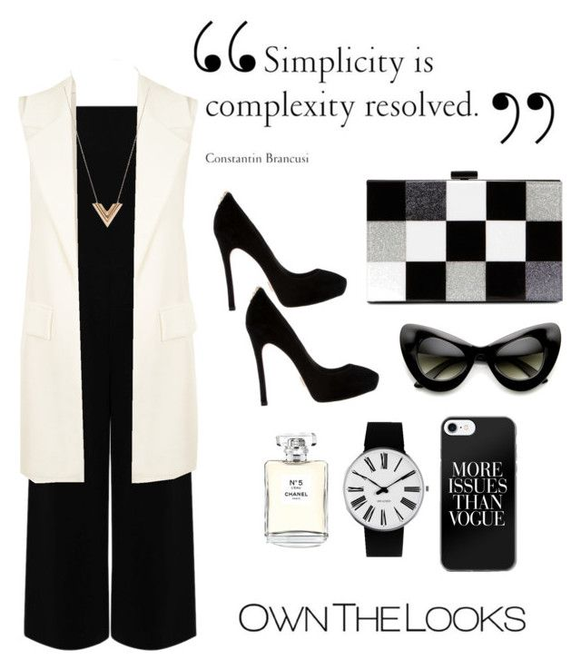 """Black and White"" by ann-kim-1 on Polyvore featuring Warehouse, WearAll, Louis Vuitton, ALDO, ZeroUV, Rosendahl and Chanel"