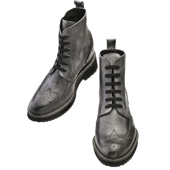 Elevator Boots - Upper in grey burnished full grain leather, insole and midsole in genuine leather, cotton waxed shoe laces. Hand Made in Italy.