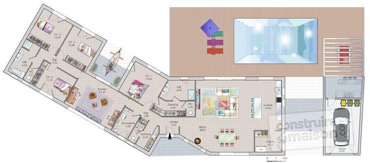 Découvrez les plans de cette une longère moderne sur www.construiresamaison.com >>>