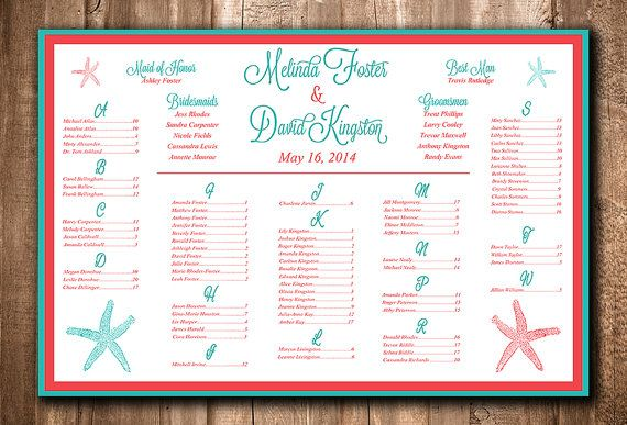 Beach Wedding Seating Chart Download | Wedding Seating Sign | Starfish Teal Coral Red | Wedding Reception Seating Printable  by PaintTheDayDesigns, $35.00