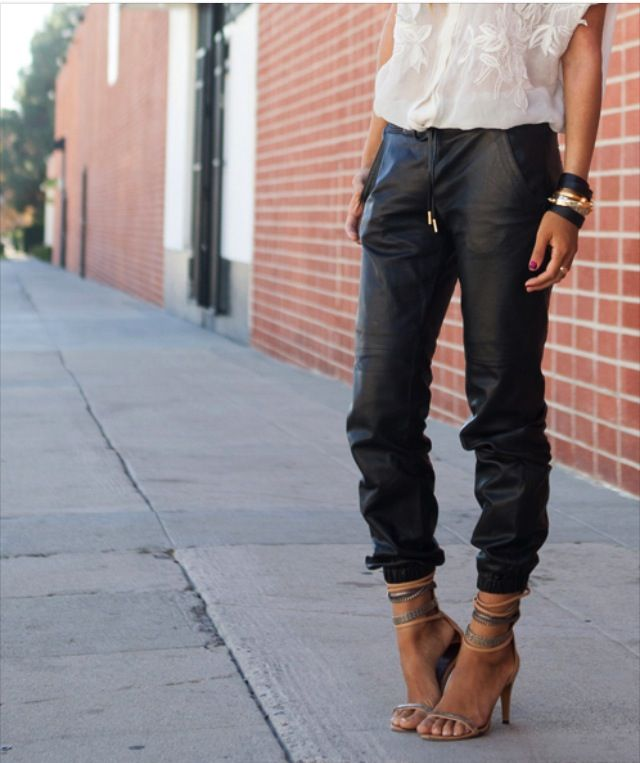 Street fashion....love slouchy leather pants