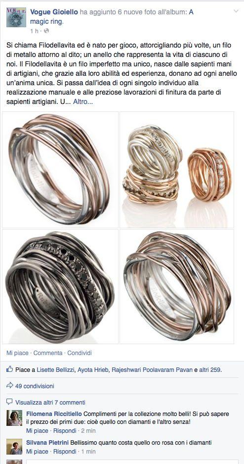 Vogue Gioiello parla di noi! Filodellavita, a magic ring! www.filodellavita.com Facebbok - Instagram - Linkedin @filodellavita