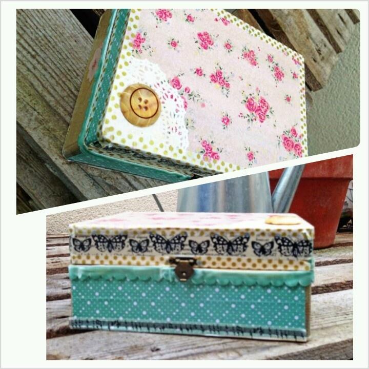 Caja madera con bolsa del women secret  scrapbooking decoupage box