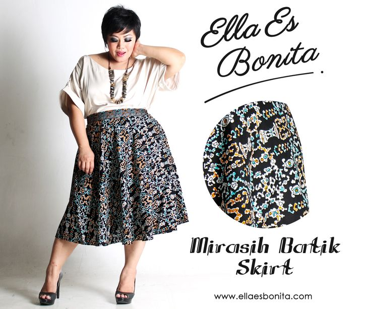 Mirasih Batik Skirt - This batik skirt features high quality batik cotton and songket for midi skirt which specially designed for sophisticated curvy women originally made by Indonesian Designer & Local Brand: Ella Es Bonita. Available at www.ellaesbonita.com