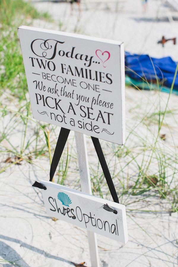 beach wedding signs http://www.weddingchicks.com/2013/10/04/wedding-in-turquoise-and-pink/