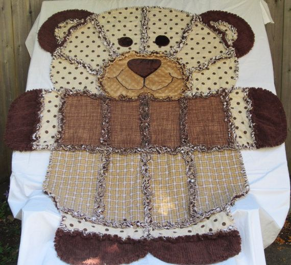 BEAR RAG QUILT Childs Rag Quilt Chocolate by TheNeedleNPinsPrject, $99.00