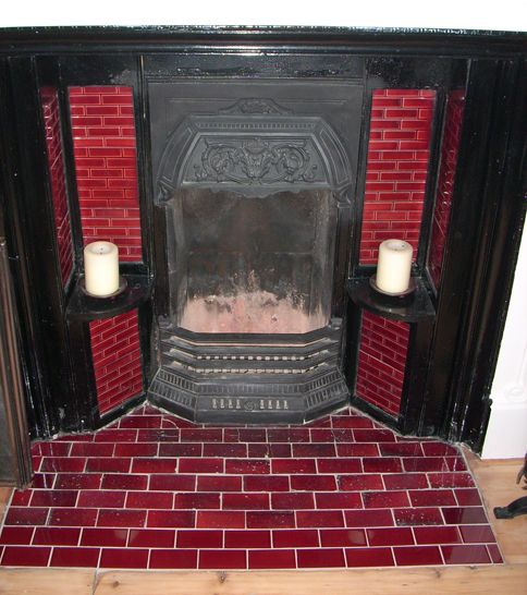 Tile inspiration for our fireplace makeover- but I want green tile :)