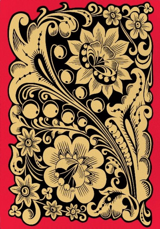 Folk Khokhloma painting from Russia. Floral pattern in black and gold colours. #Russian #folk #art #painting