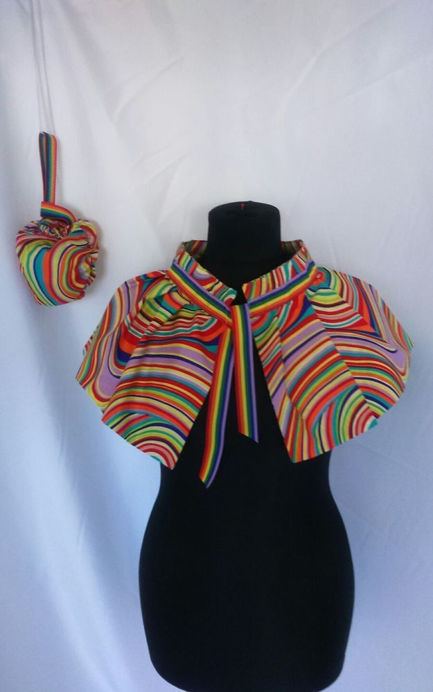 Rainbow gay pride shoulder cape masquerade moulin rouge carnival multi coloured