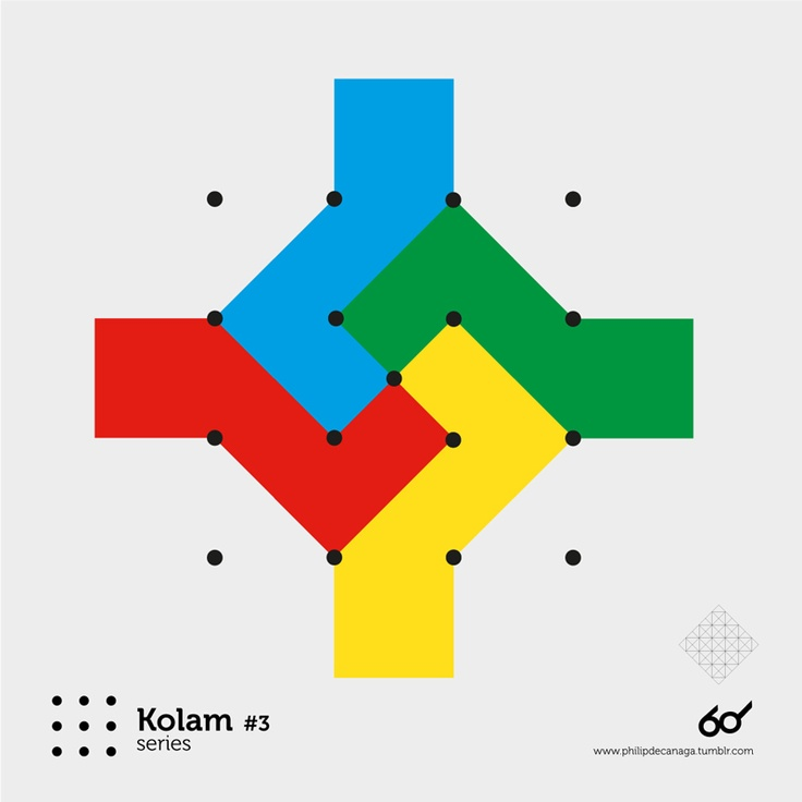 Kolam Series #3   A Kolam is a geometrical line drawing composed of curved loops, drawn around a grid pattern of dots. In South India, it is widely practised by female Hindu family members in front of their homes.[1] Kolams are regionally known by different names in India , Raangolee in Maharashtra, Hase and Raongoli in Kannada in Karnataka, Muggulu in Andhra Pradesh, etc.,[2]