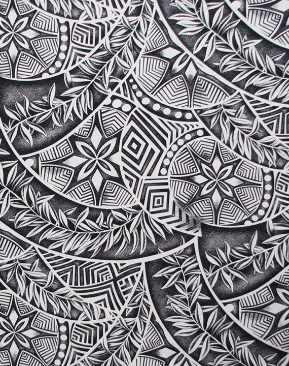 Polynesian tattoo fabric This fabric features tapa pattern and ferns in white and black. Unique and high quality material. Our pure cotton