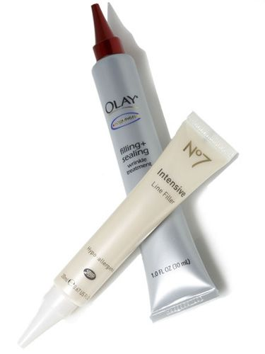 diminish the look of fine lines and wrinkles. work by plumping skin or filling in creases with serum. Testing time: 15 min And the winners are... Boots No7 Intensive Line Filler ($18, amazon.com) Olay Regenerist Filling + Sealing Wrinkle Treatment ($19, amazon.com)a Olay ranked highin lab for reducing forehead lines, first with consumers for minimizing wrinkles all over the face. Boots won for ease of use and performed slightly better than Olay on eye wrinkles. - GoodHousekeeping.com