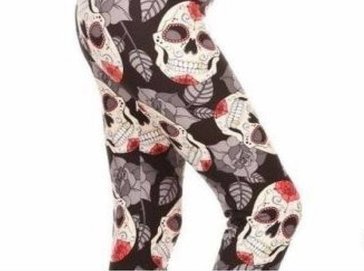 Black Red Sugar Skull Leggings Fall Leaves Plus Size 12-20 by JewelryAppeal on Etsy
