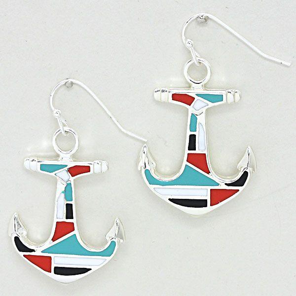 Geometric Lacquered Enamel Metal Anchor Earrings 227182