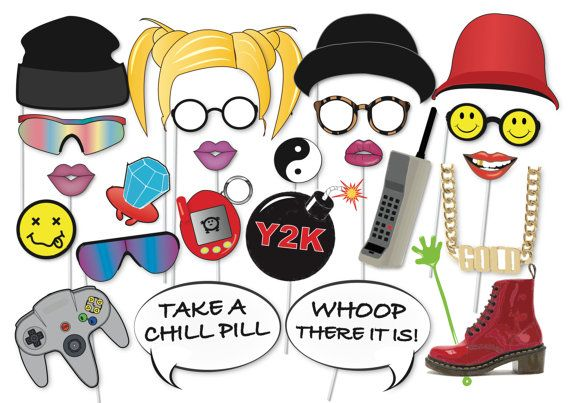 90s Party Photo booth Party Props Set 25 Piece por TheQuirkyQuail