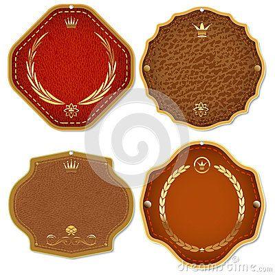 Jogo de etiquetas superiores da qualidade do couro & do ouro.