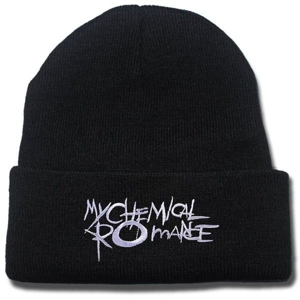 My Chemical Romance MCRMY Punk Band Logo Beanie Fashion Unisex... ($7.99) ❤ liked on Polyvore featuring accessories, hats, embroidered hats, knit hat, knit cap, beanie skull cap and beanie cap