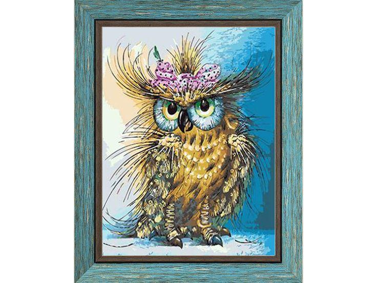 «Мадам сова», картина по номерам, раскраска по номерам, багет, рамка для картины