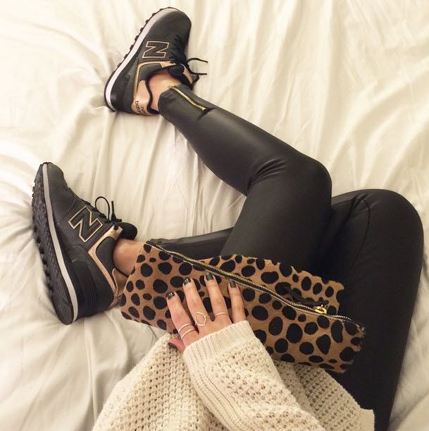 @mseme5 rocking this edgy chic look in her #newbalance 574s.