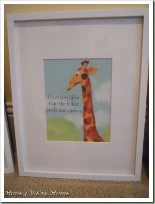 "Frame pages from books for kids room.  ""I Love You More"""