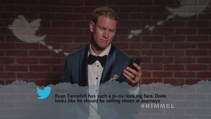 """Ryan Tannehill from Celebrity Mean Tweets From Jimmy Kimmel Live!  """"Ryan Tannehill has such a p---y-looking face. Dude looks like he should be selling shoes at Journeys"""""""