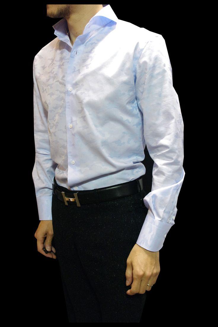 """【楽天市場】襟元で差がつくホリゾンタルカラー(カッタウェイシャツ)ドレスカジュアルな1枚は流行りの""""カモフラ""""をシャドー迷彩柄に織り込んだサックスブルーシャツ[シングルカフス]by ALE JILLBELTO【楽ギフ_包装】:advanceclothing"""