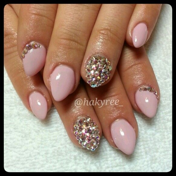 IBD Just Gel Polish 'Juliet' with full Swarovski crystals accent nails sculpted baby almond gel nails set ♥ Follow me on Instagram @hakyree_