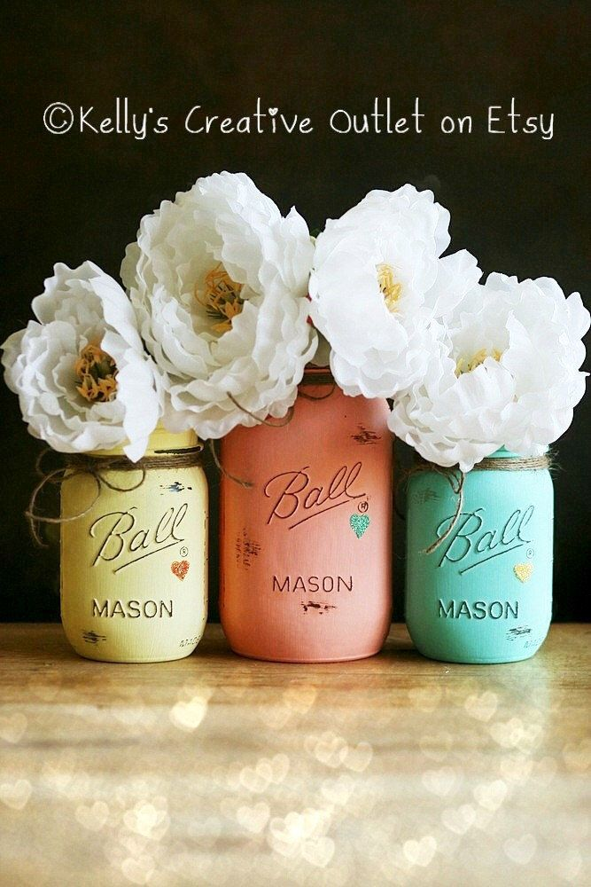 Wedding Centerpiece - Butter Yellow, Coral and Teal - Shabby Chic - Hand Painted Mason Jar - Home Decor -  Baby Shower - Mason Jar Decor by KellysCreativeOutlet on Etsy https://www.etsy.com/listing/185641977/wedding-centerpiece-butter-yellow-coral