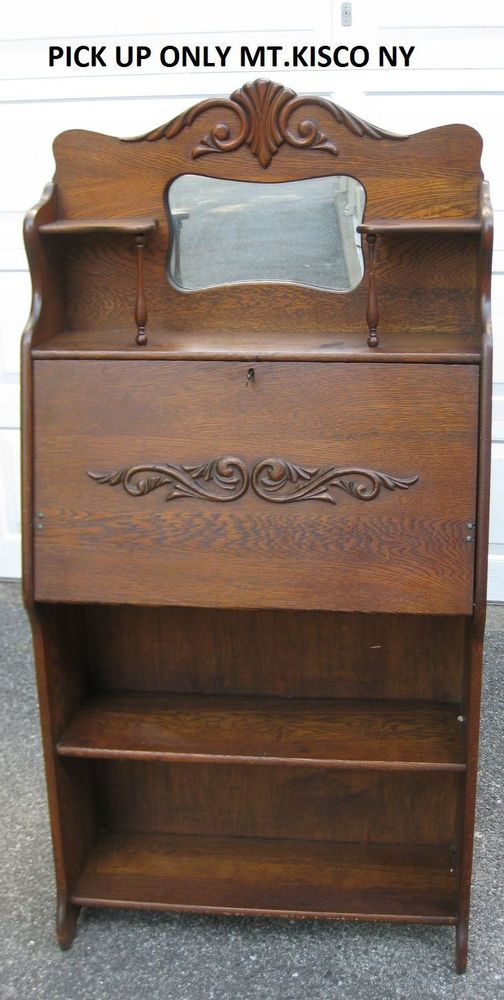 Antique Oak Secretary Desk With Bookcase Antique Furniture