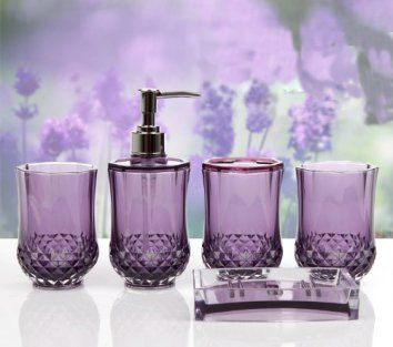 HQdeal 5PC Set Acrylic Bathroom Accessories Bathroom Set Glamarous Purple  Purple bathroom decor is fun,