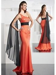 Chiffon Asymmetrical One-shoulder Hand-Beaded Bodice Long Prom Dress