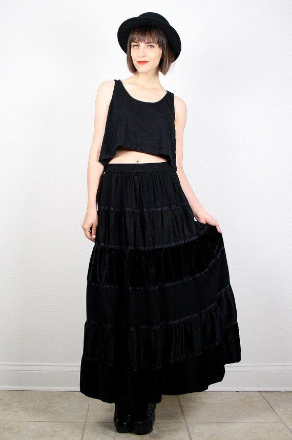 Vintage 90s Skirt Black Crushed Velvet Skirt Tiered Ruffle Skirt Maxi Skirt Boho Festival Skirt Goth 1990s Hippie Skirt M Medium L Large #vintage #etsy #90s #1990s #velvet #midi #maxi #hippie #grunge #softgrunge #goth #festival #boho #skirt